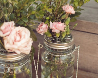 4 Mason Jar Flower Frog Lids - Wedding Centerpiece Arrangements