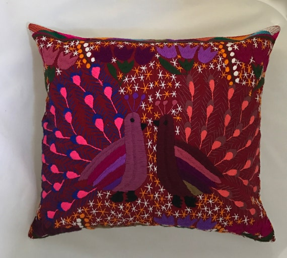 Mexican hand embroidered boho pillow cover