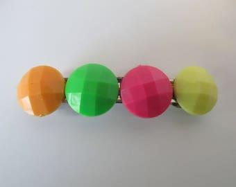 Neon Colored Button Barrette, Birthday Gifts, Gifts for her, Gifts for girls, Gifts for teens, Hair Accessories, Hair Clip, Button Barrettes