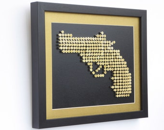 3D GUN Wall Art Made with Brass screws. Frame Included. Ready to Hang.