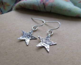 Sterling silver star earrings, star earrings, silver stars, star drop earrings, silver earrings, earrings, sterling silver jewellery