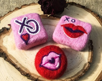 Felted hearts, Valentines day, Felted lips, xo gifts, handcrafted soaps, cold process soap