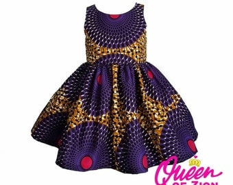 CIRCLES Collection Pink and Purple African Print Dress