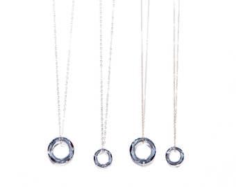 PALE BLUE GRACE necklace* dainty necklace with circle drop