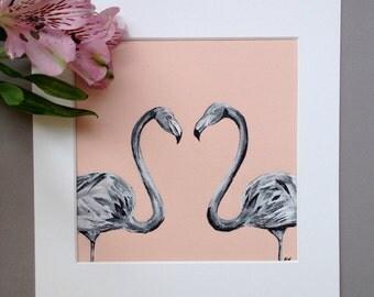 Two Flamingos, Original Ink Art