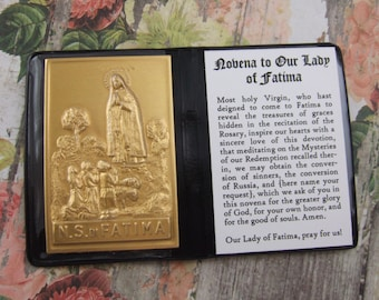 Our Lady of Fatima Marian pocket prayer folder Catholic shrine with metal picture