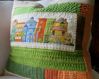 Vibrant quilted pillow, Sashiko pillow, cross-stitch and quilted pillow, Unique Linen Pillow