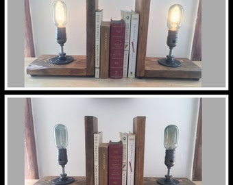 Steampunk Bookend Lamps