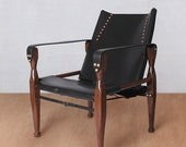Custom order for Francis - Walnut and black leather campaign chair with custom measurements to be used as desk chair.