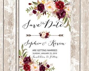 burgundy wedding invitation | etsy, Wedding invitations