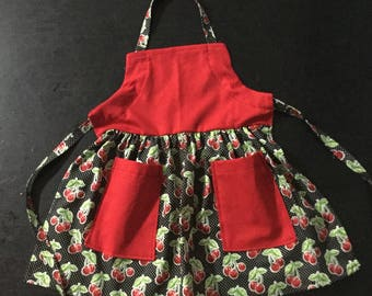 Red Cherry Apron Child Size