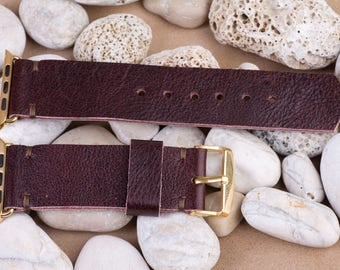 Apple watch band 42 mm, 125 / 75mm, Red Burgundy color, leather from old bag, handmade, with buckle and connector in gold color