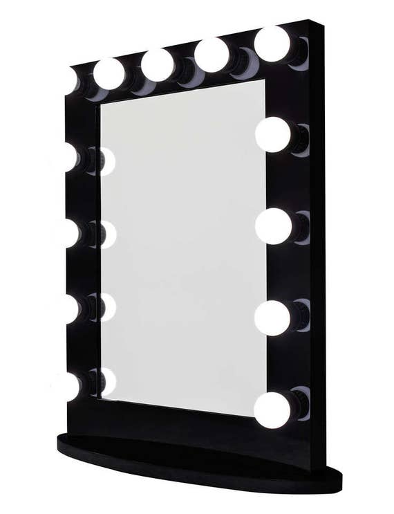 Hollywood Impact Lighted Vanity Mirror w  LED Bulbs   Double Outlet. Hollywood Impact Lighted Vanity Mirror w  LED Bulbs   Double