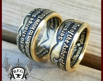 Antique Bronze NA Style Anniversary Coin Recovery Coin Ring
