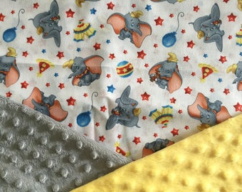 Personalized Minky Baby Blanket, Grey Teal and Yellow Dumbo Circus Minky Baby Blanket, Custom with Personalization
