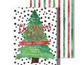Christmas Tree Party Invitation - 5x7 Customized Printable Watercolor Modern Winter Preppy Black White Polka Dot