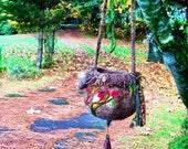 Hand felted purse, shoulder bag, crossover bag, hobo bag, Bird's nest purse, bird lovers purse, felted wool tote, bird bag, bird tote, cute!