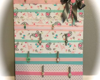 handmade / message board / wall organizer / photo board / clothes pin board / nursery room / pink / turquoise / grey / white / baby gift