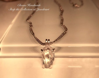Handmade Raw Lake County Diamond and Sterling Silver  Necklace./Free Shipping in the U.S.