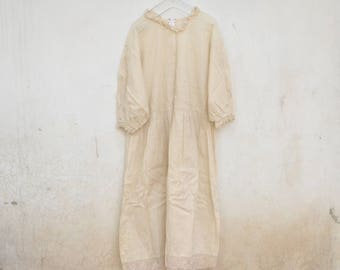 Vintage cotton white tunic dress, lace, negligee, 70s, shirt dress