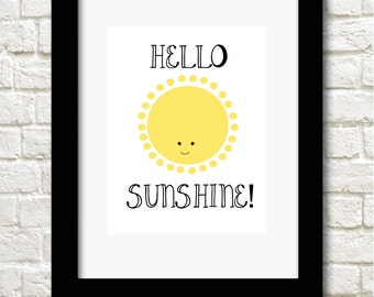 A4 Hello Sunshine print nursery childrens wall art