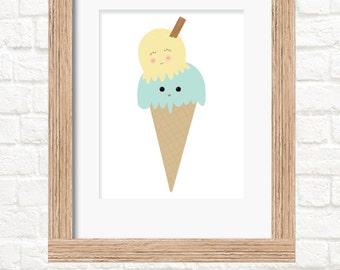 A4 double scoop ice cream print wall art