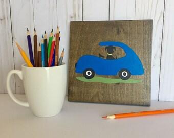 Car Theme Nursery, Car Theme Boys Room, Transportation Decor, Black Lab, Blue Car, Boy Toddler, Bedroom Decor, Cars and Trucks, Dog Driving