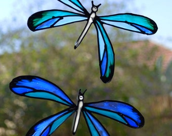 Dragonfly suncatcher in blue and turquoise, Dragonflies window decals