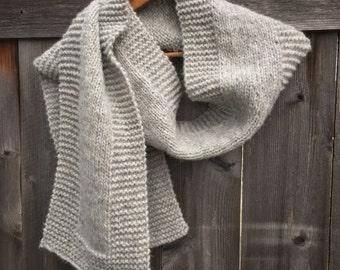 Soft grey knit scarf in baby alpaca, extra-fine merino, and silk