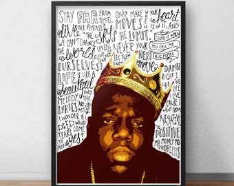 Biggie Small quote print / poster hand drawn type / typography