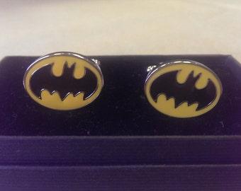 Batman logo cuff links, sterling silver