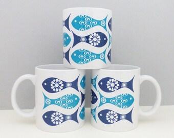 Fish Mug, Vintage Fish Mug, Mid Century Mug, Father's Day Gift, Beach Hut Gift, Beach Hut Decor, Retro Mug, Retro Gift, Blue Kitchenware
