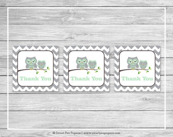 Owl Baby Shower Favor Thank You Tags - Printable Baby Shower Thank You Tags - Green Owl Baby Shower - Owl Favor Tags - Owl Shower - SP137