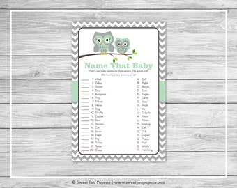 Owl Baby Shower Name That Baby Game - Printable Baby Shower Name That Baby Game - Green Owl Baby Shower - Name That Baby - Owl Baby - SP137
