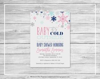 Winter Baby Shower Invitation - Printable Baby Shower Invitation - Baby It's Cold Outside Baby Shower - Baby Shower Invitations - SP141