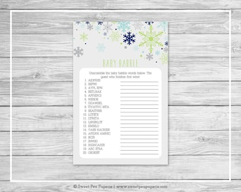 Winter Baby Shower Baby Babble Game - Printable Baby Shower Baby Babble Game - Baby It's Cold Outside Baby Shower - Word Scramble - SP142