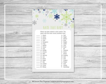 Winter Baby Shower Name That Baby Game - Printable Baby Shower Name That Baby Game - Baby It's Cold Outside Baby Shower - Baby Game - SP142