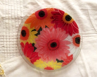 Floral Fused Glass Plate.
