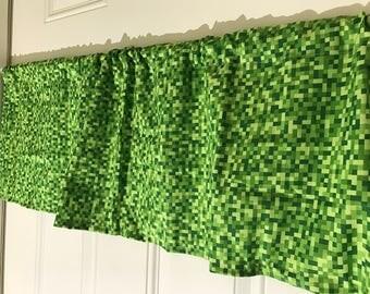 Minecraft Creeper Pixel Bitmap Green curtain valance