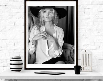 Kate Moss Hat , Home Décor, Vintage poster, Fashion, Model, Print, gift for her,