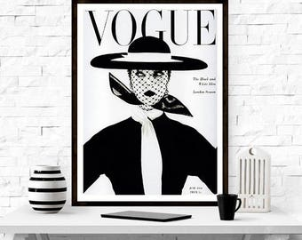 Vogue Cover Poster, Fashion art poster,  Mode Affiche, Vintage Vogue poster, Gift For her, Fashion Magazine,