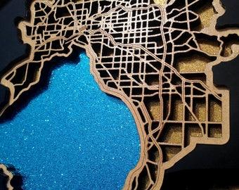 Melbourne city, bay & surrounds - Superb laser cut  wall decoration.