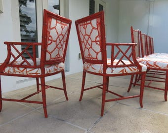 Set Of Six Designer Faux Bamboo, Chinese Chippendale Dining Room Chairs By  Karges, In