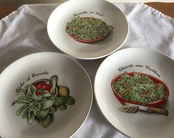 Set of 3 decorative vintage French plates