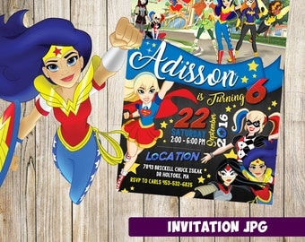 DC Super Hero Girls Invitation, Super Hero Girls Party,DC Super Hero Girls Birthday Invitation,DC Super Hero Girls Printables