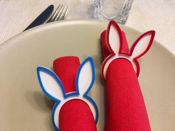 Bunny napkin ring holders Rabbit napkin rings Easter decorations Bunny Ears First Easter Dinner Party Kids Table Accent Spring party favors