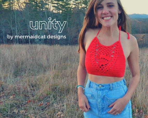 crochet crop top halter pattern - unity
