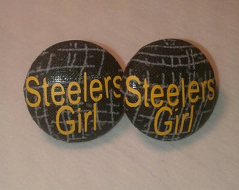 Steelers Earrings, Steelers Girl, Steeler Fan, Fabric Earrings, Button Earrings