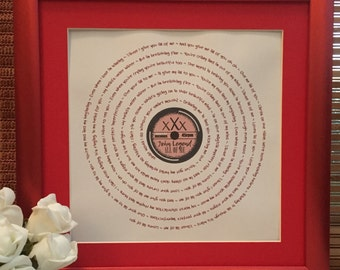 PERSONALISED Song Lyrics Vinyl Record Style Print | Any Song | Best Friend, Wedding, Anniversary, Valentines, Birthday, Thank You