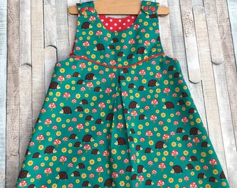 Girls dress, Size 18 months, Girls pinafore, Girls Overall, Hedgehogs and Toadstools, Polka dot, Fully lined, Summer dress, Girls play dress